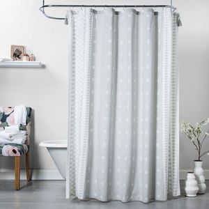Printed Gray Shower Curtain